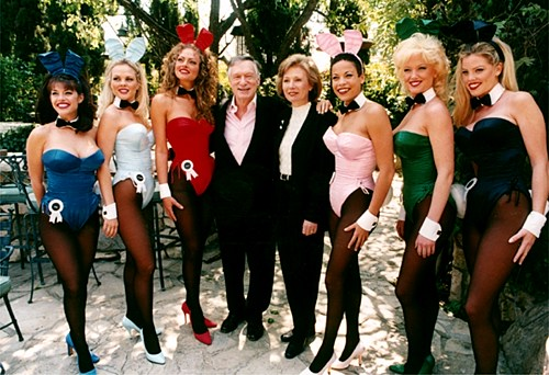 Left to right: Shae Marks, Victoria Fuller,        Stacy Sanches, Hef, Kathryn, Daphnee Lynn Duplaix,        Heather Kozar, and Jami Ferrell